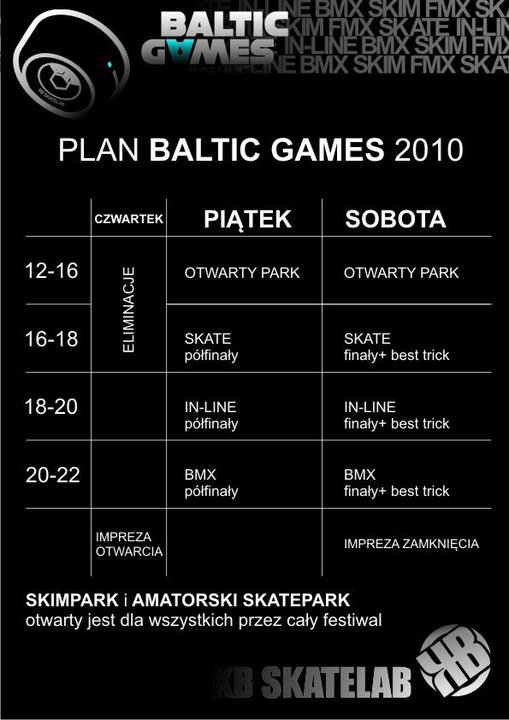 Baltic Games 2010 - kalendarz imprez - część 1