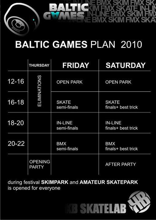 Baltic Games 2010 - kalendarz imprez - część 2