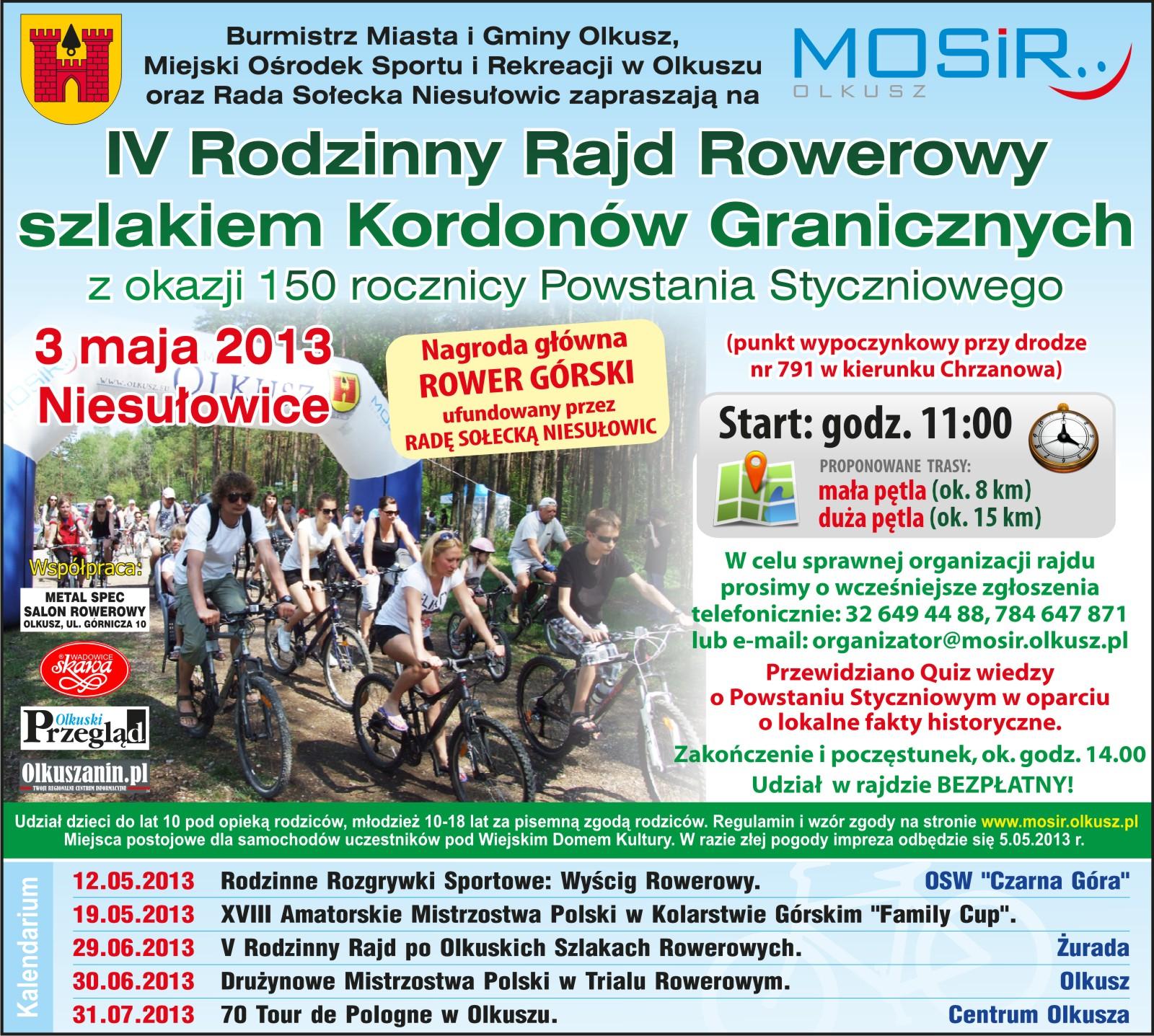 IV Rodzinny Rajd Rowerowy Szlakiem Kordonów Granicznych z okazji 150 rocznicy Powstania Styczniowego