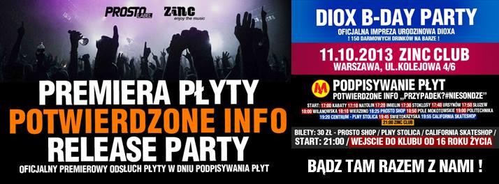 POTWIERDZONE INFO RELEASE + DIOX B-DAY PARTY