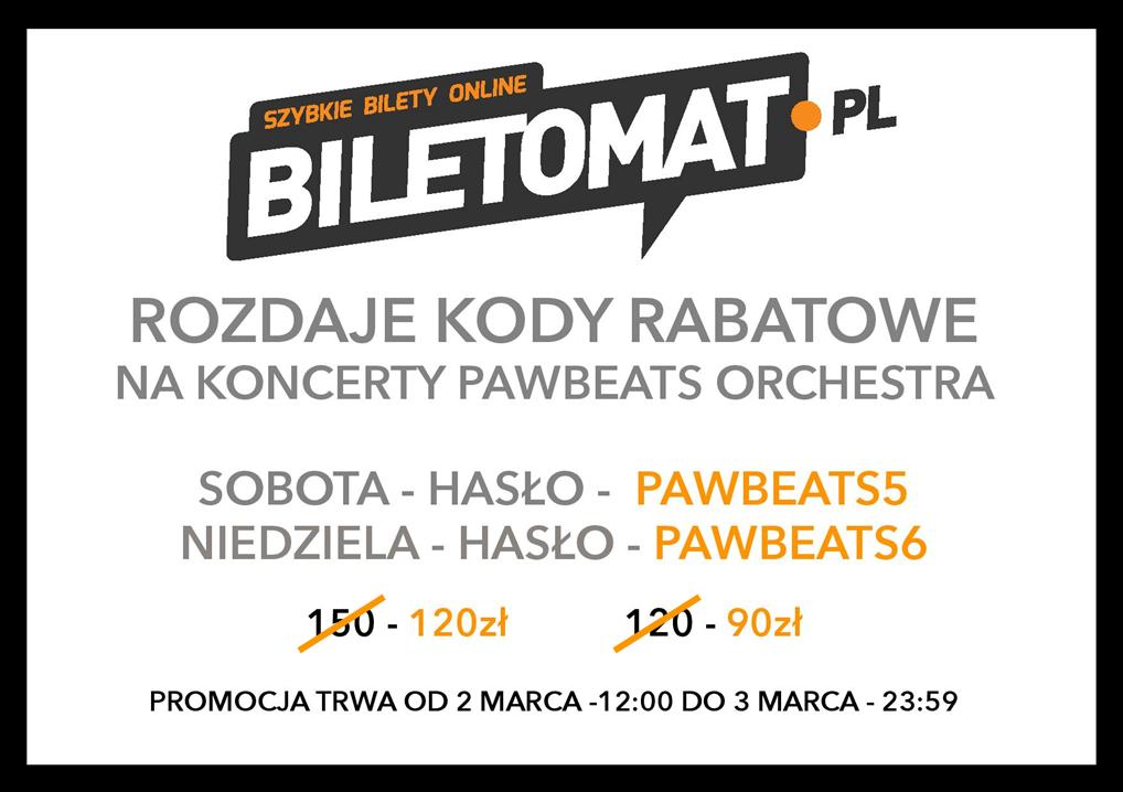 Serwis Biletomat.pl wprowadził właśnie kody rabatowe na koncerty symfoniczne Pawbeats