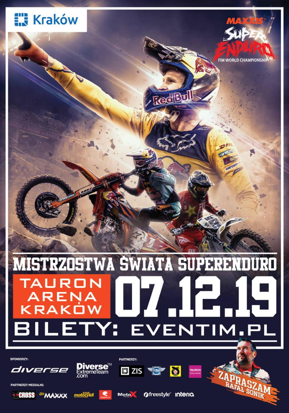 Plakat MŚ SuperEnduro 2019 - Kraków Tauron Arena